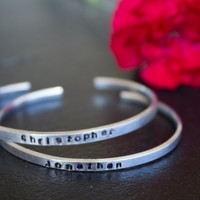 Hand Stamped Aluminum Name Bracelets - Mother's Day Gifts, Custom, Initials, Silver, Stackable, Children's Names
