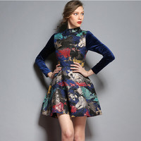 Paint Brush Print Velvet Sleeve Dress