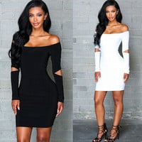 Fashion Solid Color Off Shoulder Long Hollow Sleeve Tight Pack-hip Mini Dress