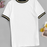 Ribbed Knit Striped Ringer Tee
