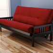 Woodbury Full Size Futon Sofa With Suede Innerspring Mattress, Black Painted Hardwood Frame, Red