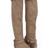Taupe Faux Leather Buckle Strappy Boots