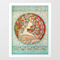 Ivy by Alphonse Mucha, 1901 Art Print by vintagereprints