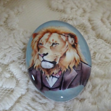 1-  Animal Cameo Cabochon 25 x 18mm Glass Various Animals in Clothes Lion Cabochon Glass Dome Button Unisex Diy Jewelry Making Supplies