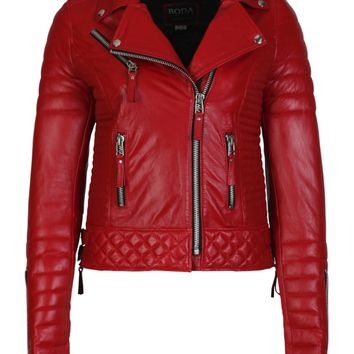 Kay Michaels Quilted Biker in Pop Red - Boda Skins