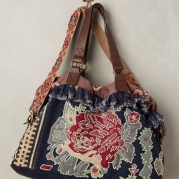 Jasper & Jeera Lulworth Beaded Weekender in Blue Motif Size: One Size Bags