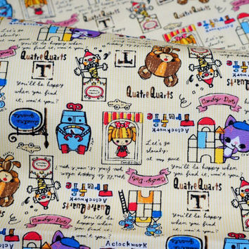 Children theme print Japanese fabric 50 cm by 106 cm or 19.6 by 42 inch Half Meter A16