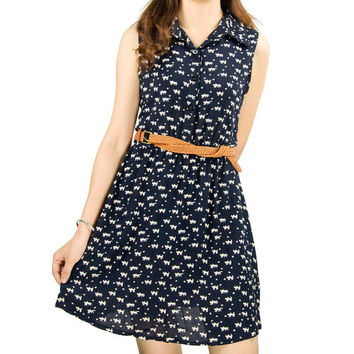 NEW Cat Footprint Summer Style Dress Sleeveless Thin Mini Dress Slim Casual Lapel Collar Dresses Navy Blue Bird Dress PE3253*35