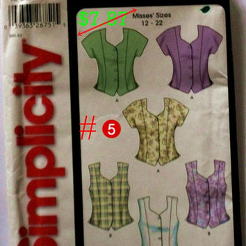 Misses Blouses, Junior clothing, Tunics Blouses, Vests, Five Patterns,Teen girls