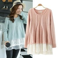 Winter Korean Lace Patchwork Long Sleeve Pullover Sweater [9584886922]