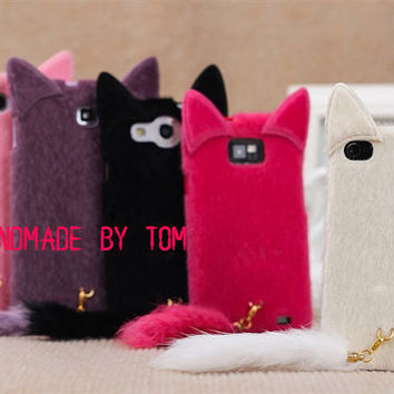 5 Color Prick-eared plush cat iPhone 5s case iphone 5c case iPhone 4 case iPhone 4s case iphone 5 case 3d Cat samsung galaxy s2 s3 s4 note 3