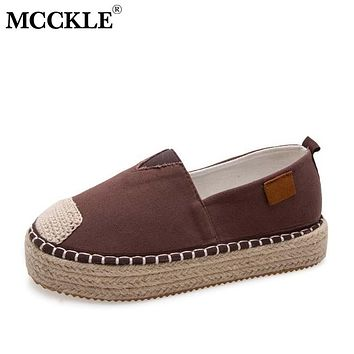 MCCKLE Women's Casual Flats Leisure Loafers Women Slip On Flat Platform Hemp Bottom Woman Vintage Sewing Cavans Female Plus Size