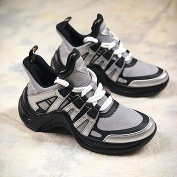 18SS Louis Vuitton LV Sci Fi Silver Black Sneakers - Best Online Sale