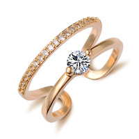 Gold/Silver Plated Double Crystal Ring Fashion Love Gift Girlfriend