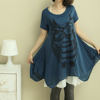 Abstract Owl Print 2 Pieces Oversize T-shirt