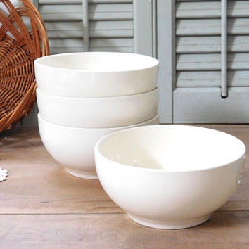 White Ceramic USA Cereal Bowls Set of 4
