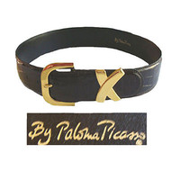 Paloma Picasso Vintage 1980s Patent Leather Alligator Print Belt Italy