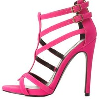 Hot Pink Strappy Asymmetrical Caged Heels by Charlotte Russe
