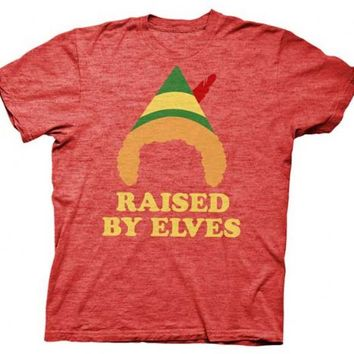 Elf Raised by Elves Heathered Red Adult T-shirt