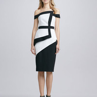 La Reina Colorblock Off-The-Shoulder Dress