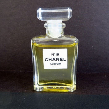 Vintage Chanel #19 Perfume Miniature Glass Bottle French Fragrance