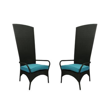 Set of 2 Black Resin Wicker Outdoor Patio King Chairs - Blue Cushions