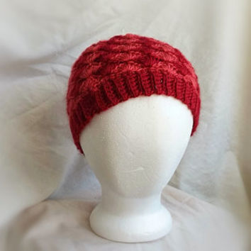Hand crocheted beanie hat  Red coral shells Wool blend cap Mens Womens Teens Crochet ripples