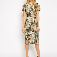 ASOS Pencil Dress with Waterfall Detail in Pretty Digital Floral