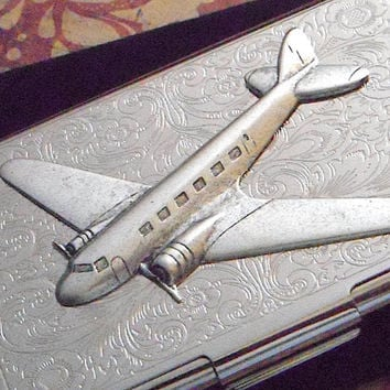 Steampunk Business Card Case Silver Airplane Case Vintage Inspired Metal Card Case DC3 Prop Plane Aircraft Men's Accessories