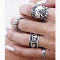 Bohemian Style 4pcs/Pck Vintage Anti Silver Color Rings