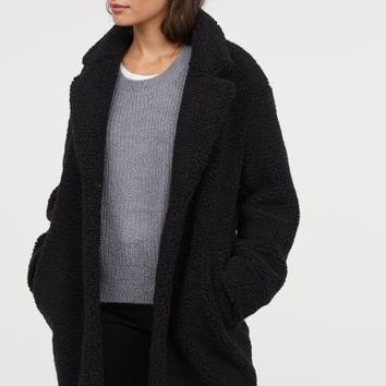 Short Pile Coat - Black - Ladies | H&M US