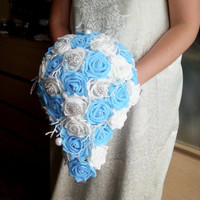 White and blue foam roses sparkle glitter brooches silver frozen flowers wedding BOUQUET satin Handle, winter wonderland christmas custom