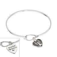 Silver Expressions by LArocks Silver-Plated Guardian Angel Heart Charm Bangle Bracelet