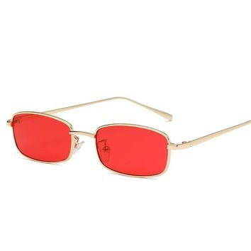 KUJUNY Small Metal Frame Sunglasses Steampunk Rectangular Sun Glasses Men Women Brand Designer Eyewear Vintage Sunglass