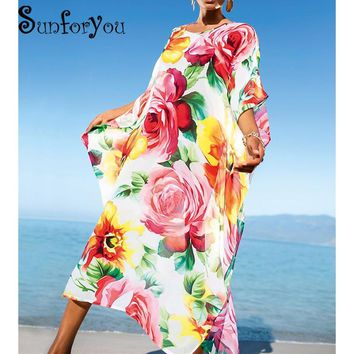 Swimsuit cover up 2018 Pareo Robe Plage Swimwear Women Beach Dress Plus size Cover up Kaftan Bikini lady Swimsuit sexy Beachwear