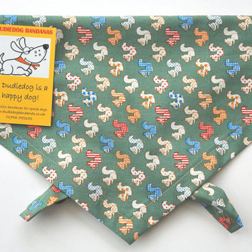 Cute Squirrel Dog bandana / Neckerchief 100% cotton, Sage Green,  Handmade in the Yorkshire Dales by Dudiedog Bandanas Free UK P&P. 7 sizes!