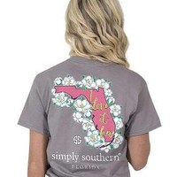 "Simply Southern ""I Love It Here"" Florida Shirt- Grey"