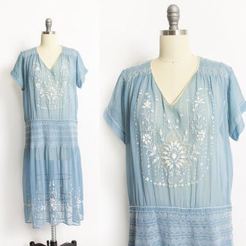 Vintage 1920s Peasant Dress - Sheer Blue Cotton Embroidered Smocked Lawn 20s - Medium M