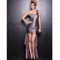 2013 Prom Dresses - Mocha Poly Satin & Chiffon One Shoulder Prom Dress - Unique Vintage - Prom dresses, retro dresses, retro swimsuits.