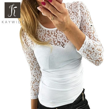 Kaywide New Autumn Fashion lace patchwork t shirt women O neck white bodycon Tee tops Girl sexy shirt plus size tshirts female