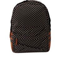 Black Combo Polka Dot Print Canvas Backpack by Charlotte Russe