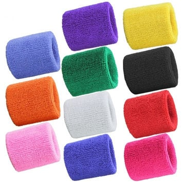 1 Pair Neon Colors Athletic Cotton Terry Cloth Wrist Sweatband Sweat Band Brace Wristband for Sports Basketball Gym Women & Men