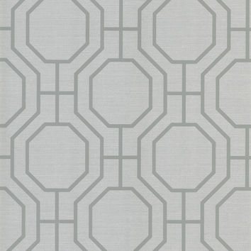 Sample of Karim Moroccan Ironwork Wallpaper in Silver by Brewster Home Fashions