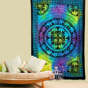 Indian Psychedelic Home Decor Elephants Mandala Tapestry, Tie Dye, 100% Cotton, Gipsy Hippie Ethnic Style, Wall Art, Bedding, Gifts 1011