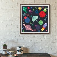 Space Wall Art Poster Print - Rocket Shuttle Sun Earth Saturn Printing Room Decor - Planet Neptune Mars Cosmos UFO Home Printable Painting