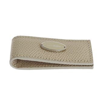 Dolce & Gabbana Beige Leather Magnet Money Clip