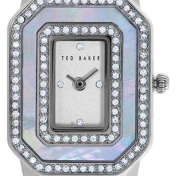 Women's Ted Baker London Double Crystal Leather Strap Watch, 24mm