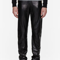 Versace Black Leather Jogging Pants for men | SSENSE