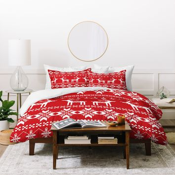Natt Christmas Red Deer Duvet Cover