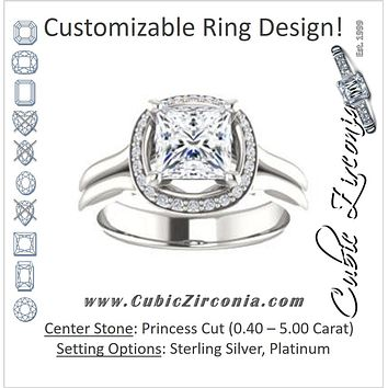 Cubic Zirconia Engagement Ring- The Elaine Li (Customizable Princess Cut Style with Halo, Wide Split Band and Euro Shank)